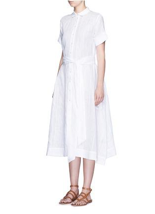 Front View - Click To Enlarge - LISA MARIE FERNANDEZ - Stripe cotton-linen voile midi shirt dress
