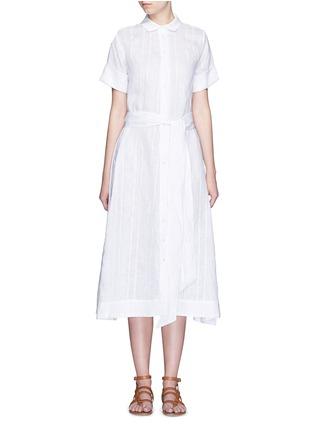 Main View - Click To Enlarge - Lisa Marie Fernandez - Stripe cotton-linen voile midi shirt dress