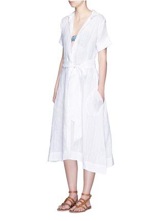 Figure View - Click To Enlarge - Lisa Marie Fernandez - Stripe cotton-linen voile midi shirt dress