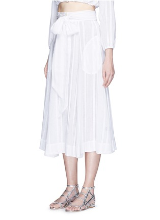 Front View - Click To Enlarge - LISA MARIE FERNANDEZ - Stripe cotton-linen voile midi beach skirt
