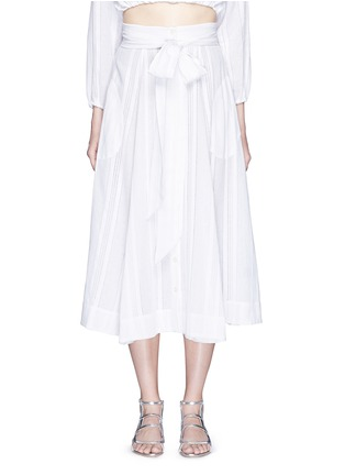 Main View - Click To Enlarge - LISA MARIE FERNANDEZ - Stripe cotton-linen voile midi beach skirt