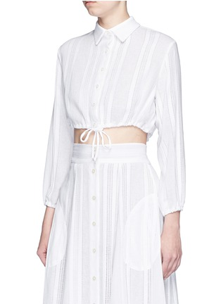 Front View - Click To Enlarge - Lisa Marie Fernandez - Drawstring waist stripe cotton-linen cropped bubble blouse