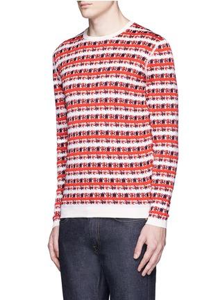 Front View - Click To Enlarge - Maison Kitsuné - Pixelated stripe jacquard sweater