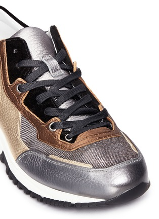 Detail View - Click To Enlarge - Lanvin - 'Basket' suede panel metallic leather sneakers