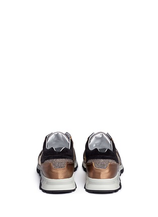 Back View - Click To Enlarge - Lanvin - 'Basket' suede panel metallic leather sneakers