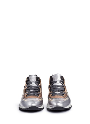 Front View - Click To Enlarge - Lanvin - 'Basket' suede panel metallic leather sneakers