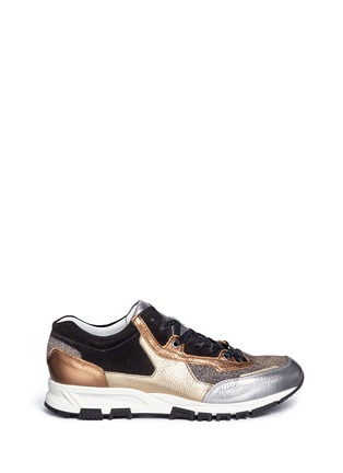 Main View - Click To Enlarge - Lanvin - 'Basket' suede panel metallic leather sneakers