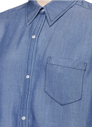 Detail View - Click To Enlarge - Vince - Colourblock chambray shirt