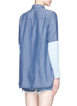 Back View - Click To Enlarge - Vince - Colourblock chambray shirt