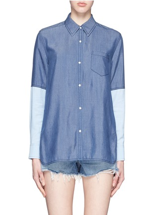 Main View - Click To Enlarge - Vince - Colourblock chambray shirt