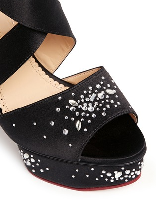 Detail View - Click To Enlarge - Charlotte Olympia - 'Edna' rhinestone silk satin platform sandals