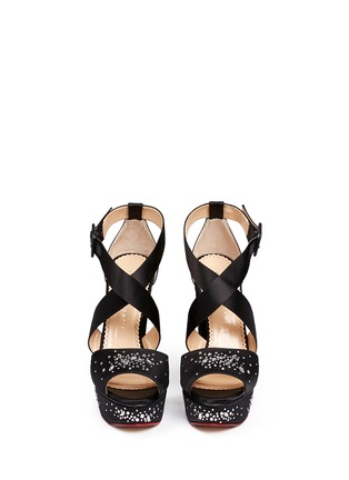 Front View - Click To Enlarge - Charlotte Olympia - 'Edna' rhinestone silk satin platform sandals