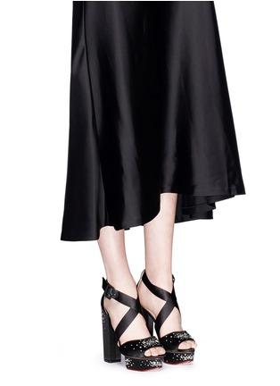 Figure View - Click To Enlarge - Charlotte Olympia - 'Edna' rhinestone silk satin platform sandals