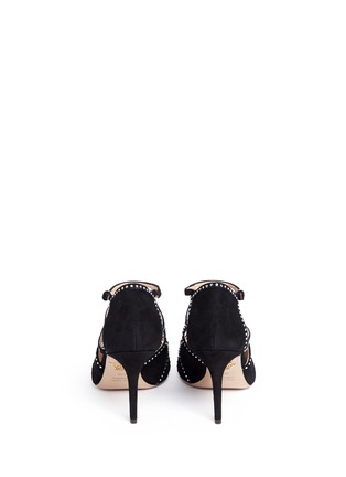 Back View - Click To Enlarge - Charlotte Olympia - 'Lotte' Charlotte's web strass suede sandals