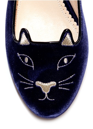 Detail View - Click To Enlarge - Charlotte Olympia - 'Kitty' velvet flats