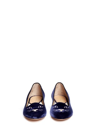 Front View - Click To Enlarge - Charlotte Olympia - 'Kitty' velvet flats