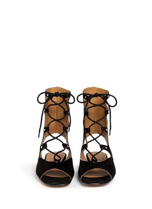 Figure View - Click To Enlarge - CHLOÉ - 'Lettonia' lace-up suede gladiator sandals