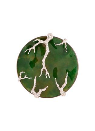 Main View - Click To Enlarge - SAMUEL KUNG - Diamond jade titanium 18k yellow gold brooch