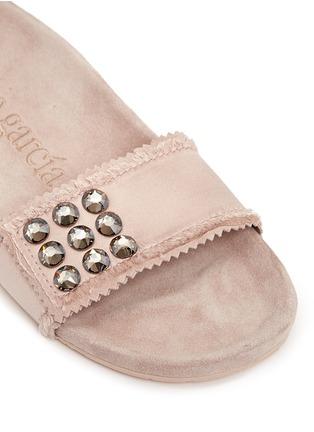 Detail View - Click To Enlarge - Pedro García - 'Amelin' satin crystal slide sandals