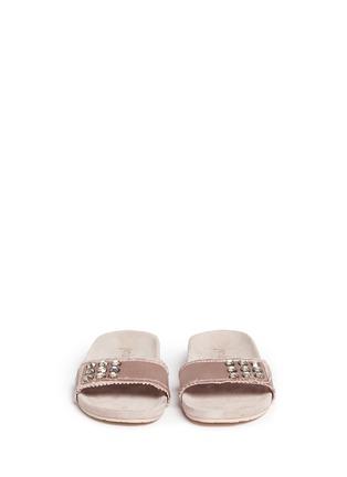 Front View - Click To Enlarge - Pedro García - 'Amelin' satin crystal slide sandals