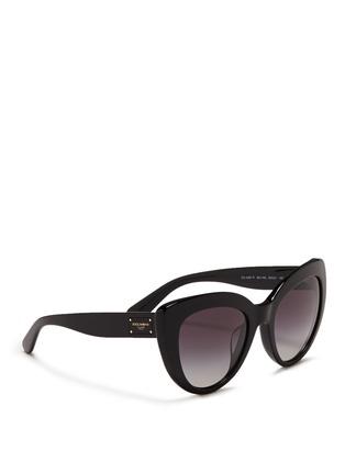 Figure View - Click To Enlarge - Dolce & Gabbana - Logo plaque acetate cat eye sunglasses
