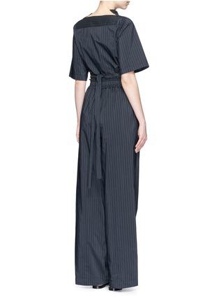 Back View - Click To Enlarge - 3.1 Phillip Lim - Paperbag sash tie pinstripe jumpsuit