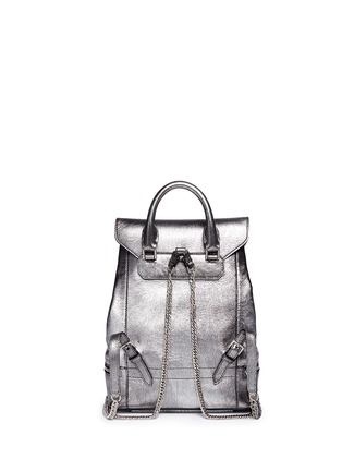Back View - Click To Enlarge - ALEXANDER MCQUEEN - Small charm chain metallic pebbled leather backpack
