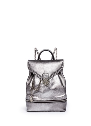 Main View - Click To Enlarge - ALEXANDER MCQUEEN - Small charm chain metallic pebbled leather backpack