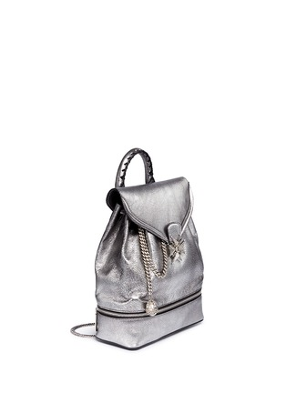Figure View - Click To Enlarge - ALEXANDER MCQUEEN - Small charm chain metallic pebbled leather backpack