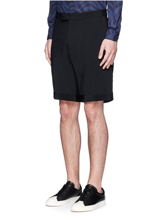 Front View - Click To Enlarge - OAMC - Petersham trim wool seersucker shorts