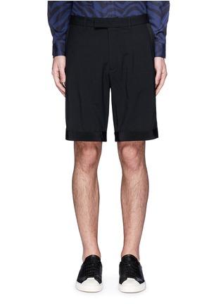 Main View - Click To Enlarge - OAMC - Petersham trim wool seersucker shorts