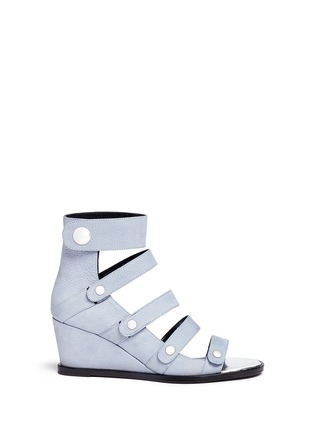 Main View - Click To Enlarge - Opening Ceremony - 'Olivia' pebbled leather wedge sandals