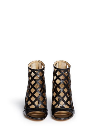 Front View - Click To Enlarge - Michael Kors - 'Yvonne' cutout leather open toe caged booties