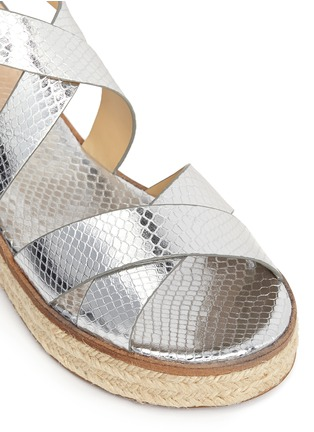 Detail View - Click To Enlarge - MICHAEL KORS - 'Darby' snakeskin effect metallic leather espadrille sandals