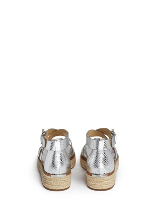 Back View - Click To Enlarge - MICHAEL KORS - 'Darby' snakeskin effect metallic leather espadrille sandals