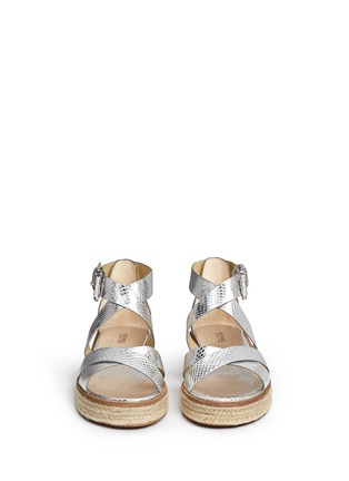 Front View - Click To Enlarge - MICHAEL KORS - 'Darby' snakeskin effect metallic leather espadrille sandals