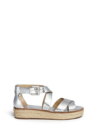 Main View - Click To Enlarge - MICHAEL KORS - 'Darby' snakeskin effect metallic leather espadrille sandals