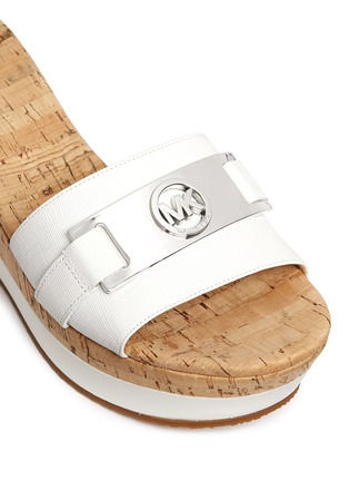 Detail View - Click To Enlarge - Michael Kors - 'Warren' leather strap cork wedge sandals