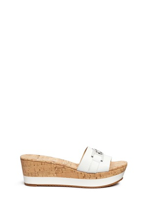 Main View - Click To Enlarge - Michael Kors - 'Warren' leather strap cork wedge sandals