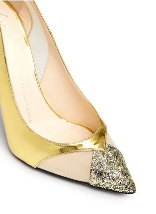 Detail View - Click To Enlarge - Giuseppe Zanotti Design - Glitter toe cutout mirror leather pumps