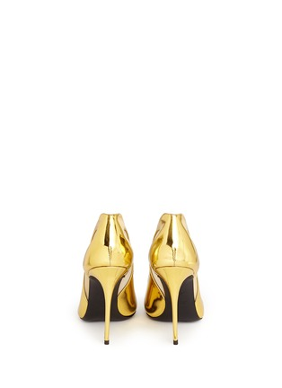 Back View - Click To Enlarge - Giuseppe Zanotti Design - Glitter toe cutout mirror leather pumps