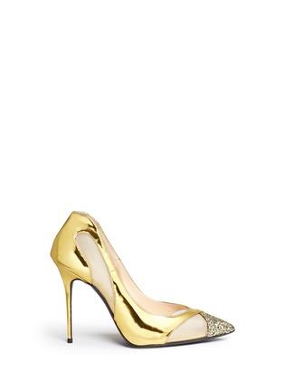 Main View - Click To Enlarge - Giuseppe Zanotti Design - Glitter toe cutout mirror leather pumps