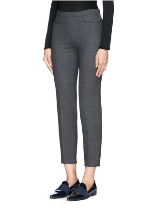 Front View - Click To Enlarge - Armani Collezioni - Soft pleat wool blend hopsack pants