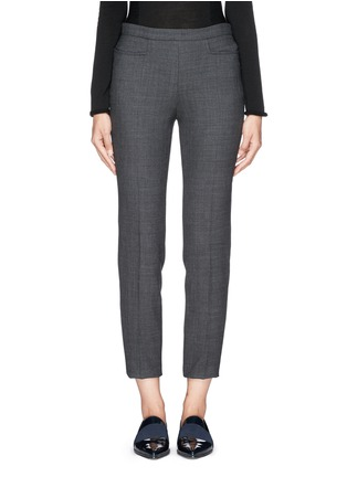 Main View - Click To Enlarge - Armani Collezioni - Soft pleat wool blend hopsack pants