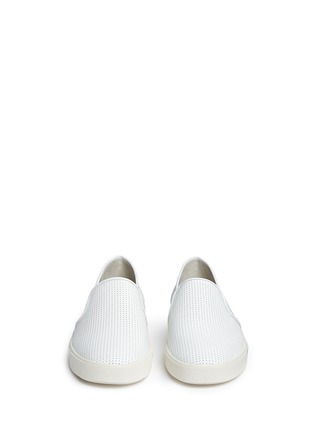 Front View - Click To Enlarge - Vince - 'Blair' perforated leather skate slip-ons