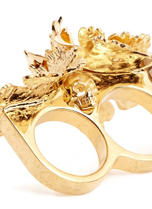 Detail View - Click To Enlarge - Alexander McQueen - Lotus flower two finger ring