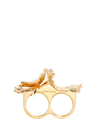 Figure View - Click To Enlarge - Alexander McQueen - Lotus flower two finger ring