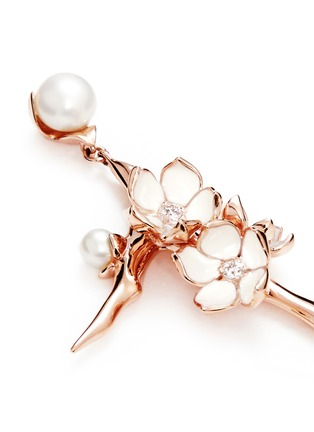 Detail View - Click To Enlarge - Shaun Leane - Large branch diamond and cultured pearl drop earrings