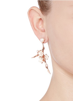 Figure View - Click To Enlarge - Shaun Leane - Large branch diamond and cultured pearl drop earrings