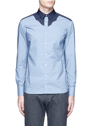 Main View - Click To Enlarge - kolor - Polka dot Western yoke cotton shirt